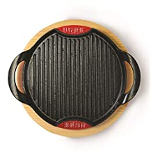 Bialetti 0ltgg036 Set de Rejilla inducción Hierro esmaltado y Soporte de Mesa (Madera/Aluminio 2 Piezas, Aluminio, Negro, 28x28x4 cm
