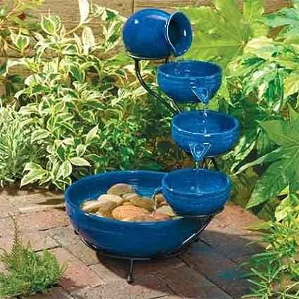 Fuente solar Azul y cerámica vidriada