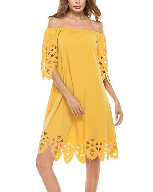 Mujer Elegante Vestidos De Shoulder Off Manga Corta Vestidos De Coctel Vestido Fiesta Amarillo S