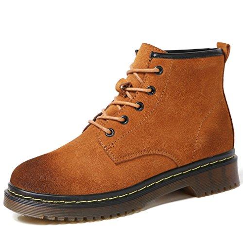Bottes Chaussures Martin Cheville Bordure Plat Basse Suédé Antidérapant 36 Femmes Lacets Brun Boots Rétro vxxqad