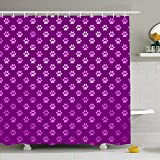 Pink and Purple Polka Dot Shower Curtain Ahawoso Shower Curtain 60x72 Inches Polka Foil Purple Pink Dog Paws Dot Pattern Pet Design Waterproof Polyester Fabric Bathroom Curtains Set with Hooks