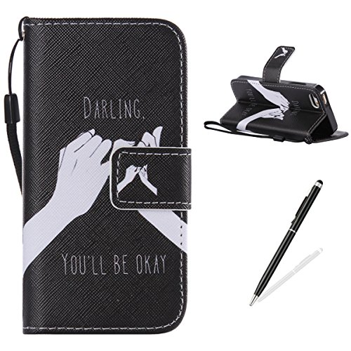 Pedestal Darling - iPhone 5C Case ,Feeltech Premium Magnetic Flip Folding PU Leather Wallet Card Slot Stand Shell With Hand Strap For iPhone 5C -Darling You Will Be Okay