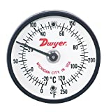 Dwyer® Surface Mount Thermometer, ST250, 0-250°F (-20-120°C), 2'' Dial