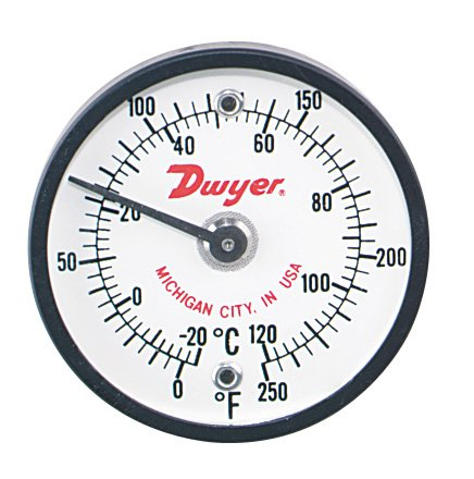 Dwyer® Surface Mount Thermometer, ST500, 0-500°F (-20-260°C), 2'' Dial