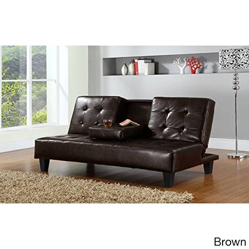 HODEDAH IMPORT Hodedah PU Upholstered, Armless, Click Clack Sofa Bed with Drop-down Cupholder in Brown