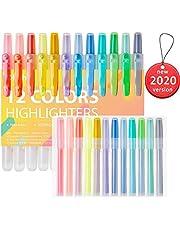 24er Textmarker, Ohuhu 12 Farben Textmarker Marker mit 12 Ersatzminen, Meißel Spitzen Marker, verschiedene weiche und fluoreszierende Farben Highlighter Bibelmarker für Kids Journalen, Hervorheben