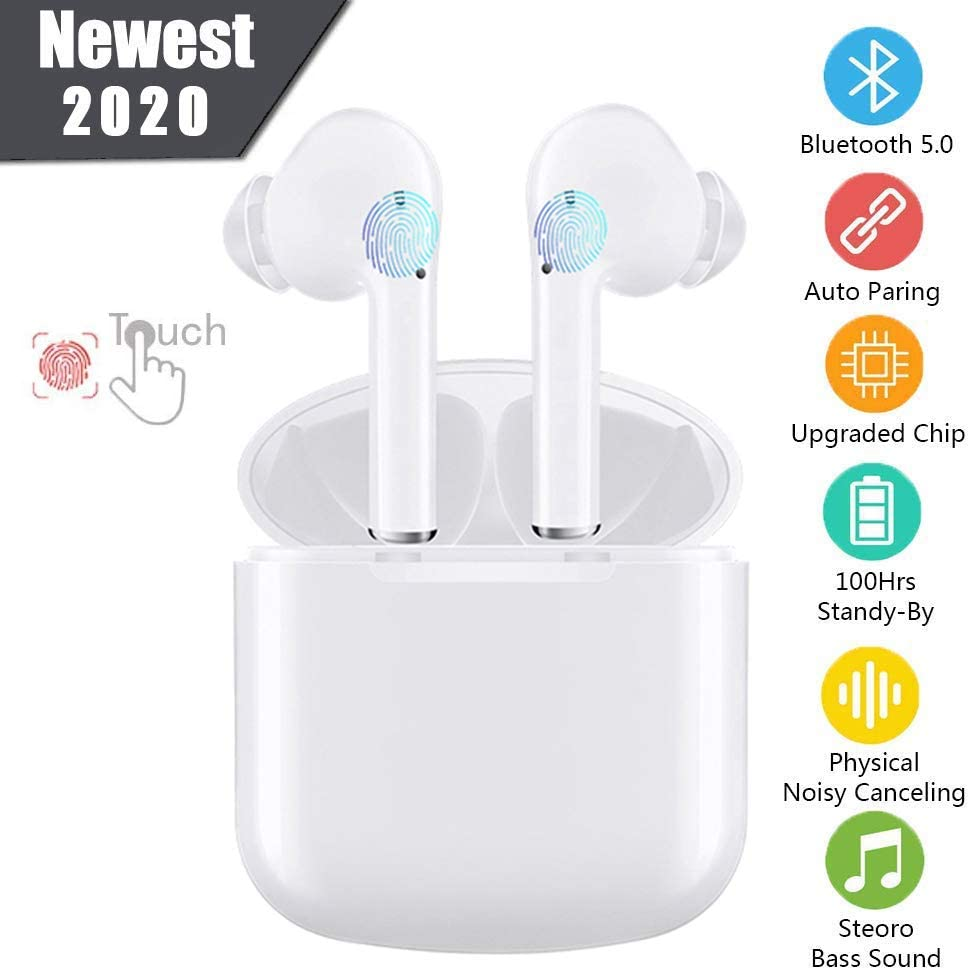 Bluetooth Headphones 5.0, Wireless Bluetooth Earbuds Stereo Earphone Cordless Sport Headsets, Bluetooth in-Ear Earphones with Built-in Mic for Smart Phones PC Laptop