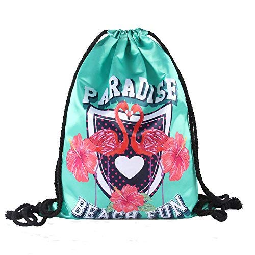 Drawstring Backpack Waterproof Cinch Sack Lightweight Silk Gym Sackpack Backpack Quick-dried for Men Women (Flamingo-Icon)