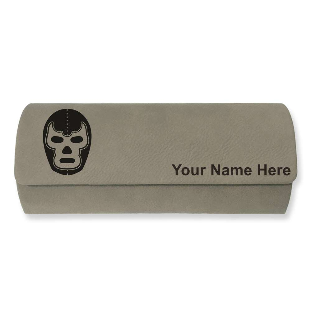Eyeglass Case - Luchador Mask - Personalized Engraving Included (Light Brown) by SkunkWerkz