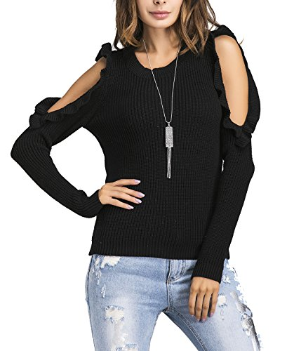 YiYaYo Womens Autumn Knitted Sweater, Long Sleeve Cut Out Cold Shoulder Ribbed Knit Slim Pullover Sweater Tops Black M