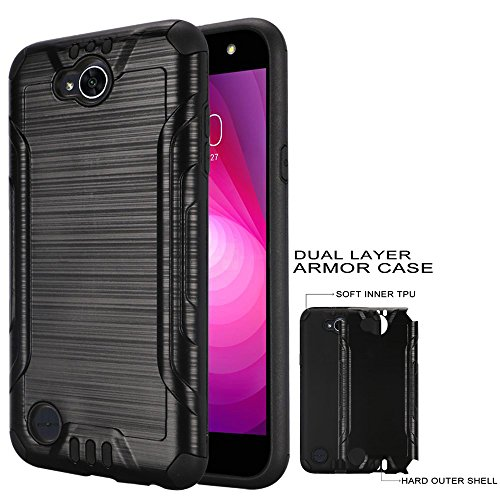Phone Case for LG X-Power-2 LTE, X-Charge, Tracfone LG Fiesta-2 L163BL, Straight Talk LG Fiesta L64vL 63BL (Simple Mobile) / LV7 Brush Textured Dual-Layered Cover (Combat Brush Black-Black)