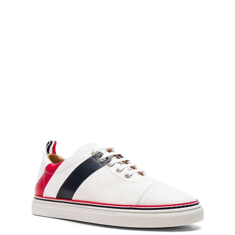 (トム ブラウン) Thom Browne メンズ シューズ靴 スニーカー Pebble Grain & Calf Leather Straight Toe Cap Sneakers [並行輸入品] B07F74KYW1