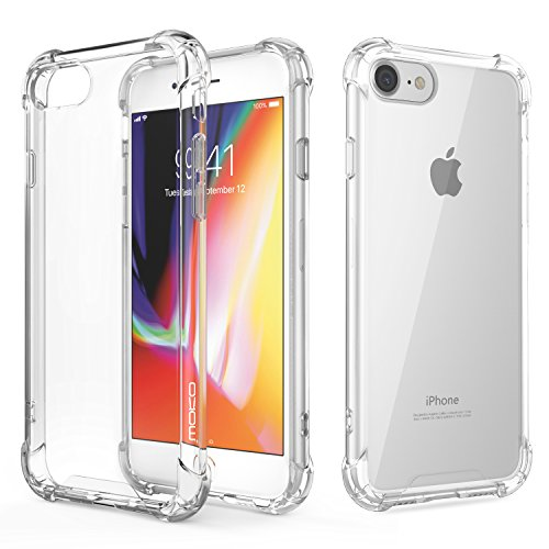 For iPhone 8 Case/iPhone 7 Case - MoKo Flexible TPU Bumper Gel Case Crystal Clear Ultra Slim Shell Protective Anti-Scratch Rigid Back Cover for Apple iPhone 8/7, Crystal Clear