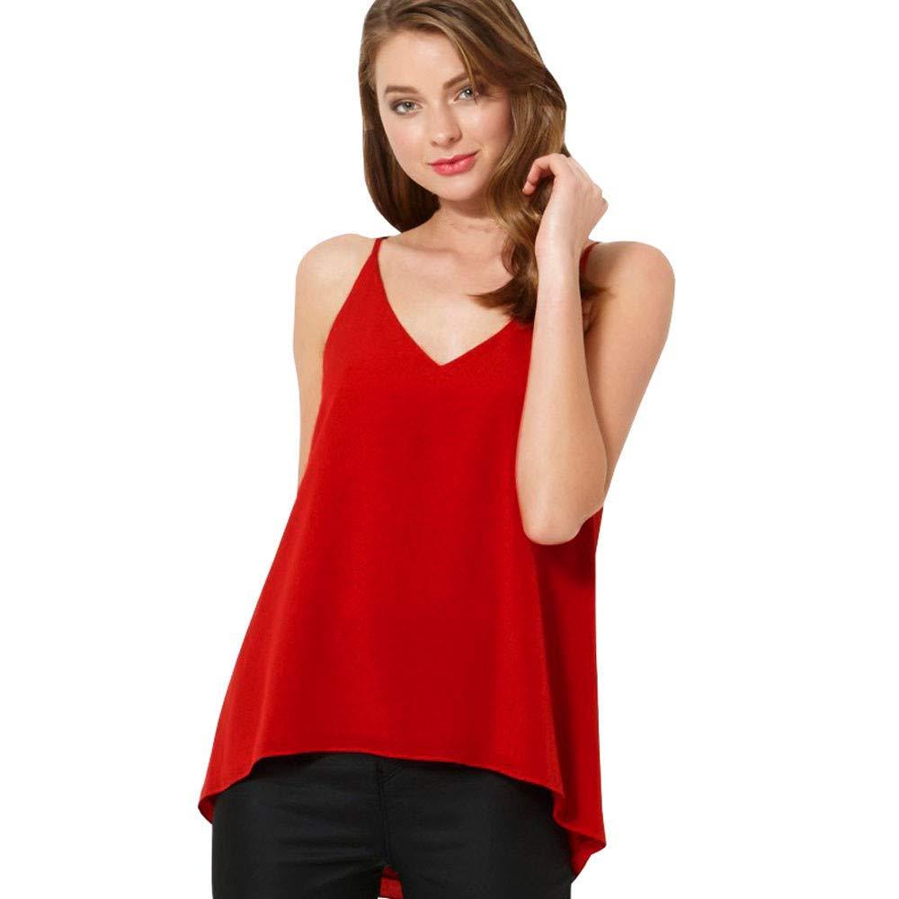 iLUGU Women V Neck Tank Top Chiffon Vest Men Cami Sleeveless Shirt Blouse Red