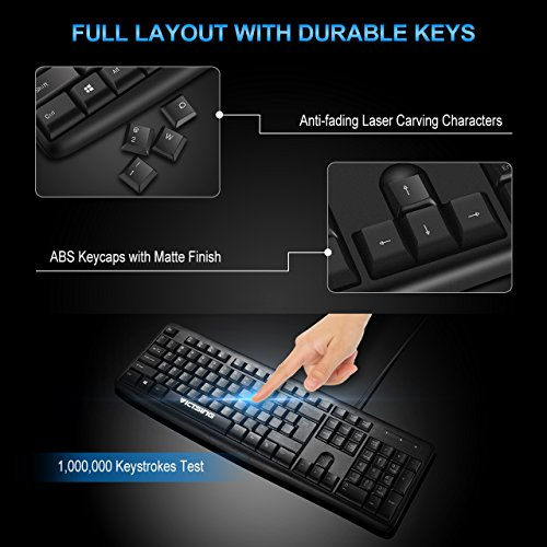 VicTsing Spill-Resistant Wired Keyboard, Computer USB Keyboard with 5 Feet USB Cable and Foldable Stands, Support Windows 10/8/7/Vista/XP, Mac, Linux, Black by VicTsing (Image #4)
