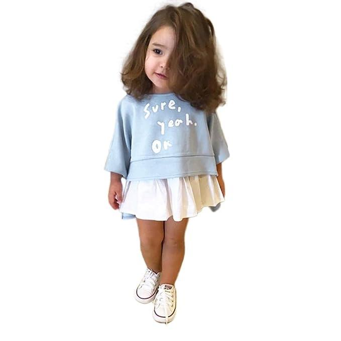 Kehen Kids Toddler Girls 2pcs Spring Outfits Clothes Letter Print Hi Low Shirt Tops
