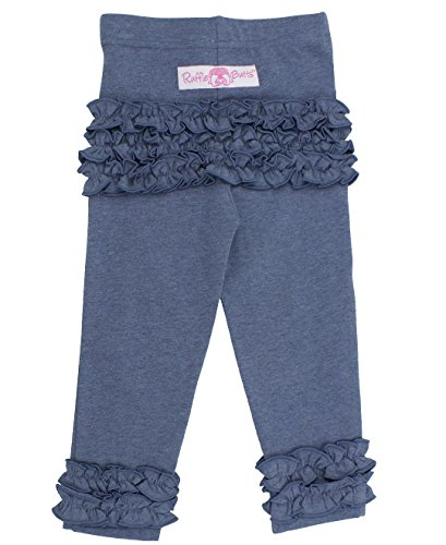 RuffleButts Infant / Toddler Girls Knit Faux Denim Ruffle Leggings - Blue - 0-6m - Knit Ruffle Pants