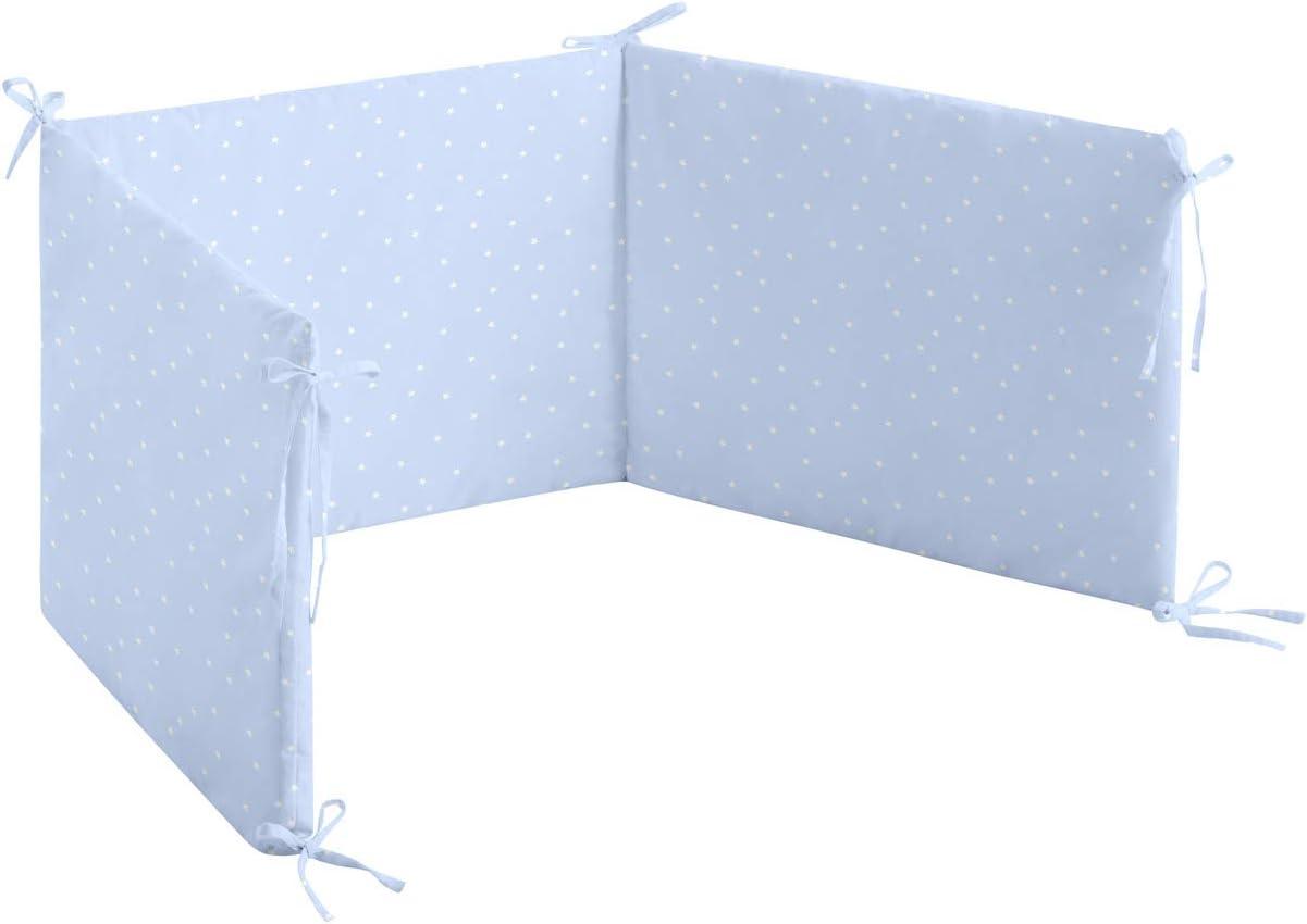 Colores Azul y Amarillo Burrito Blanco Chichonera para Cuna de Beb/é 60x120cm con Un dise/ño Estampado de Nubes y con Estrellitas en la Parte Trasera//Chichonera Cuna 60x120