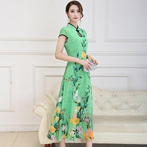 XIU*RONG Imprimir Vestir Mujer Nieve Verano Hilados Falda Falda Péndulo Grande Edad Media Falda Madre green