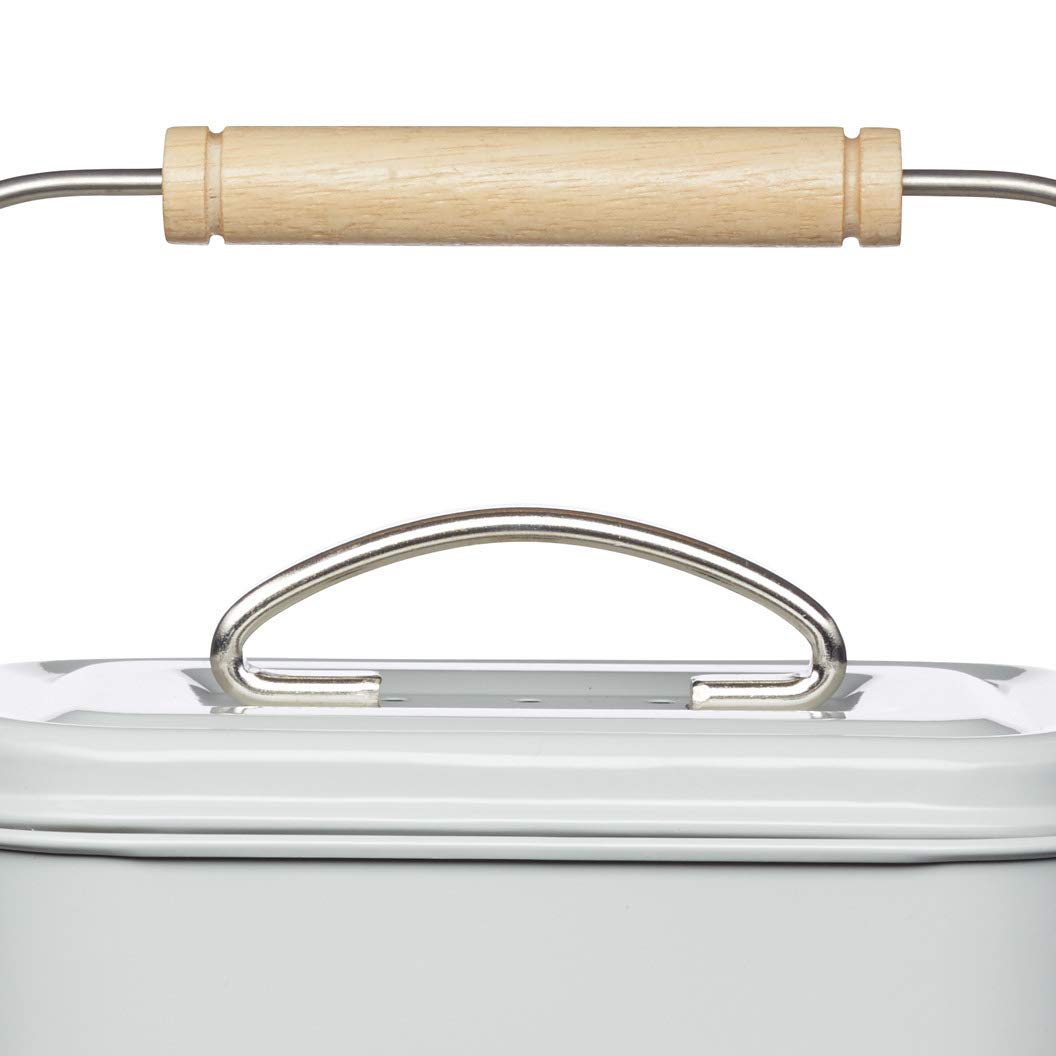 Kitchen Craft 3 litros cubo de basura para abono Living Nostalgia acero, Vintage azul