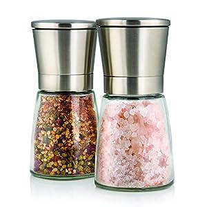 Elegante Edelstahlmühlen für Salz und Pfeffer mit Ständer - Twinzee Salz &...