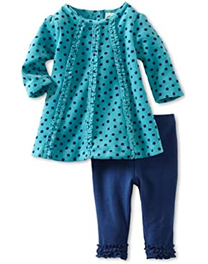 Baby-Girls Newborn Viridian Dot Velour Dress And Knit Legging Set