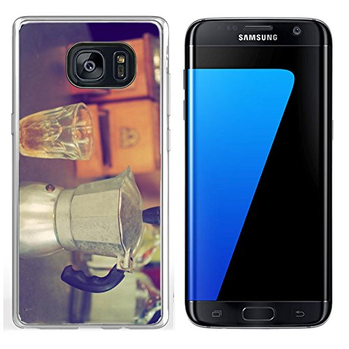 Luxlady Samsung Galaxy S7 Edge Clear case Soft TPU Rubber Silicone IMAGE ID: 34010862 coffee maker espresso machine on the table wood vintage color