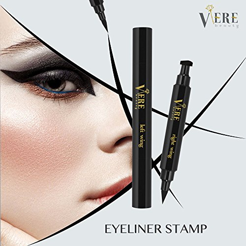 VereBeauty Winged Eyeliner Stamp Eye Liner Waterproof Smudge Proof Long Lasting eyeliner Vamp stamp,Dual Ends Left and Right 2 Pens (Black)