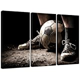 Live Art Decor - 3 Pieces Canvas Art Ragged Sneaker with a Soccer Ball Vintage Picture Prints on Canvas Framed Ready to Hang,Sports Wall Art for Boys Room,-16''x32''x3pcs