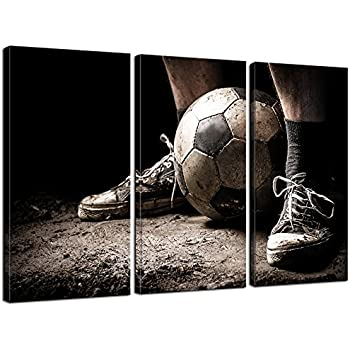 Live Art Decor   3 Pieces Canvas Art Ragged Sneaker With A Soccer Ball  Vintage Picture Prints On Canvas Framed Ready To Hang,Sports Wall Art For  Boys Room ...