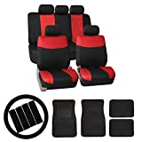 FH-FB056114 FH Group Modern Flat Cloth Car Seat Covers Combo Set: F14403 Carpet Floor mats , Steering Wheel Cover, Seat Belt Pads Red /Black