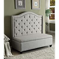 ACME Furniture Fairly 57262 Storage Settee, Beige Fabric & Espresso