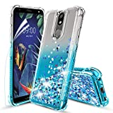 Tmacker LG K40 Case,LG Solo LTE/K12 Plus/X4 2019/LMX420 Phone Case w/HD Screen Protector,TPU Shockproof Glitter Liquid Quicksand Protective Phone Cover for Girls Women-Teal