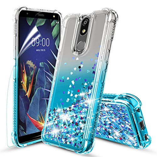 Tmacker LG K40 Case,LG K12 Plus/X4 2019/LMX420/Solo LTE Phone Case w/HD Screen Protector,TPU Shockproof Glitter Liquid Quicksand Protective Phone Cover for Girls Women-Teal