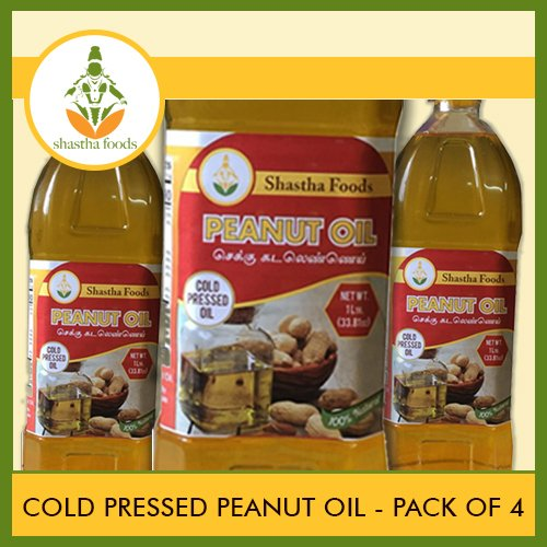 Shastha Cold Pressed (Chekku) Peanut Oil - 1 Ltr (Pack of 4) (T-M) by Shastha Foods