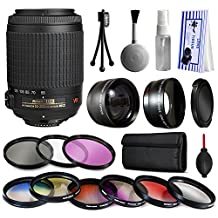 Nikon VR 55-200mm Lens 2166 + Premium Accessories Kit includes 2.2x & 0.43x Adapters + 9 Filters for Nikon DF D7200 D7100 D7000 D5500 D5300 D5200 D5100 D5000 D3300 D3200 D3100 D3000 D300S D90 D60