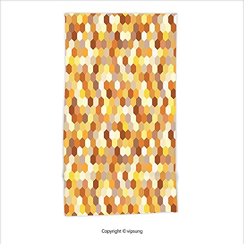 Vipsung Microfiber Ultra Soft Hand Towel-Modern Decor Geometric Colored Mosaic Like Circles Rounds Print Marigold Yellow Grey And Light Brown For Hotel Spa Beach Pool (Walmart Pool Clearance)