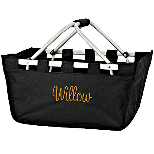 Personalized Black Large Full Size Collapsible Market Tote Basket