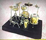 Dollhouse Miniature Music Drum Set Rock Band Musical Instrument Decor w/Case - My Mini Fairy Garden Dollhouse Accessories for Outdoor or House Decor