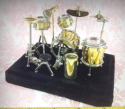 Amazon Com Dollhouse Miniature Music Drum Set Rock Band Musical