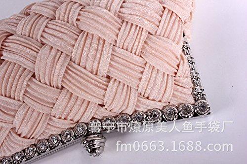 female Bag Rhinestone gules bag bride cloth woven Satin diamond bag Diamond hand dress Evening black pleated Enqv6XB
