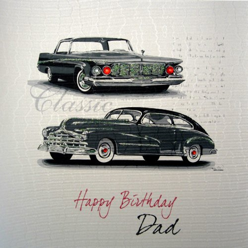 Amazon White Cotton Cards Code Xlsb6 Happy Birthday Dad Handmade Large Card Classic Car Kitchen Dining