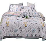 Kids Queen Bedding Sets 3 Piece Soft Cotton Floral Duvet Cover Set Full for Girls Women Reversible Geometric Striped Comforter Cover with Zipper Closure Flower Garden Design,Gift for Teens Children