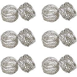 SKAVIJ Round Mesh Napkin Rings Set of 12 Silver for Wedding Banquet Dinner Decor Favor