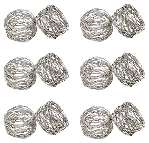 (SKAVIJ Round Mesh Napkin Rings Set of 12 Silver for Wedding Banquet Dinner Decor Favor)