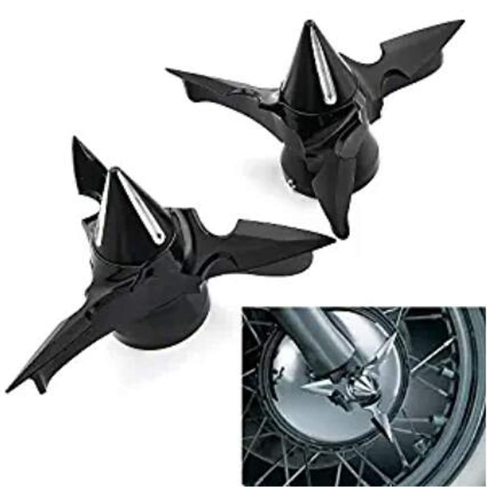 2X Black Spun Blade Spinning Front Axle Caps Nut Covers Fit for Harley-Davidson Touring Softail Dyna XL Sportster