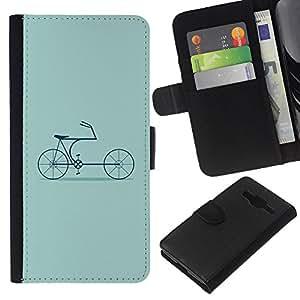 EJOY---La carpeta del tirón la caja de cuero de alta calidad de la PU Caso protector / Samsung Galaxy Core Prime / --Bicicleta Verde Hipster Cultura Antiguo