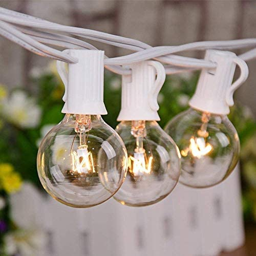 Goothy 25Ft Outdoor String Lights with 27 G40 Clear Lights Bulbs 2 Spare , Patio Hanging String Lights for Indoor Outdoor Garden Decor, C7 E12 Base,Connectable Globe String Lights – White Wire