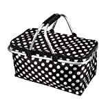 Johlycao Large Size Folding Picnic Basket, Lightweight Insulated Cooler Zip Closure Basket 30L Picnic Bag with Carry Handles for Shopping, Camping, Beach