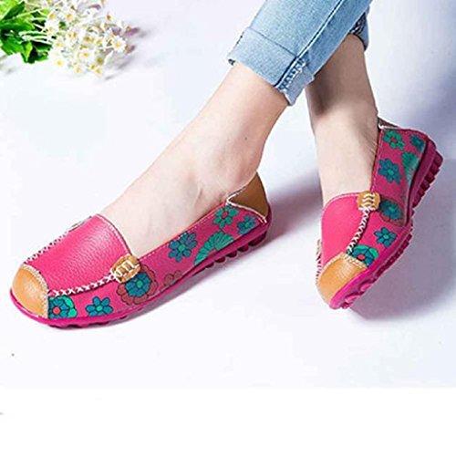 mocasines de de floral mujeres impresión Casual pisos rosa de Zapatos ocio Ularma roja cuero suaves las qOwUOv8